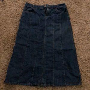 Denim calf length skirt